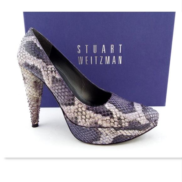 0276b6c7f5fc52 Stuart Weitzman Purple Snake Platform Pumps 55